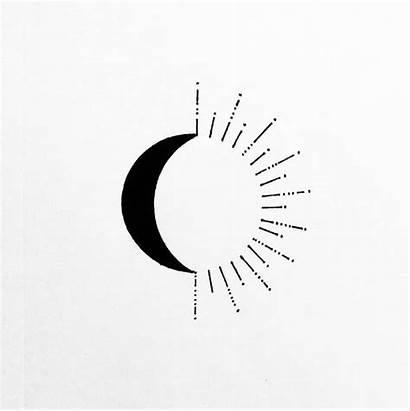 Moon Sun Tattoo Simple Tattoos Drawing Line
