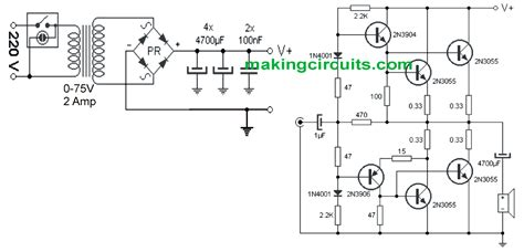 simple  watt amplifier circuit   transistors