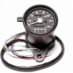 2 5 U0026quot  Black Mini Speedometer With Black Face Led Indicator Lights