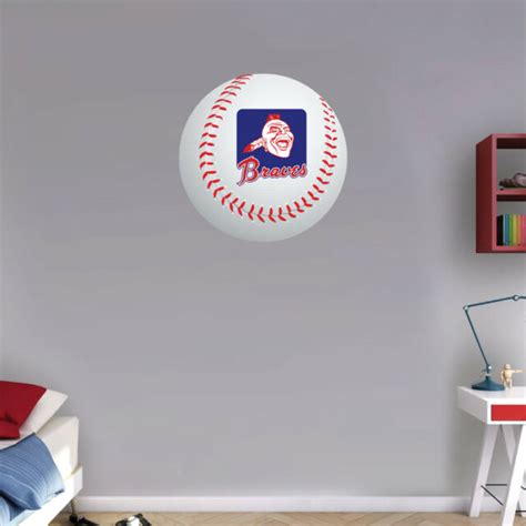 """There are 763 atlanta braves decor for sale on etsy, and they cost $33.72 on average. Atlanta Braves Head MLB Logo Ball Art Wall Decor Sticker 12"""" or 22""""   eBay"""
