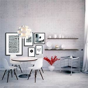 Optical White brick wall Interior Design Ideas - Ofdesign