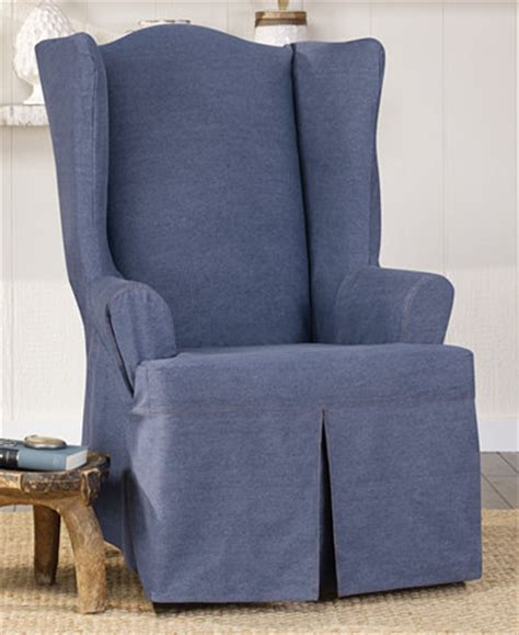 sure fit wing chair slipcover sure fit authentic denim wing chair slipcover slipcovers
