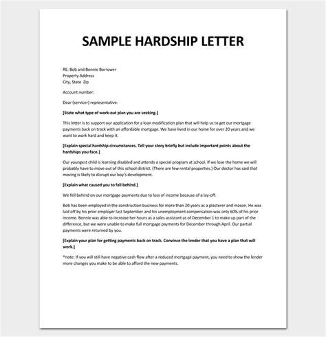 hardship letter  loan modification  sample