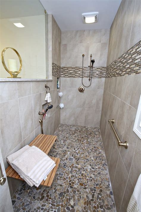 master bath remodel  flat pebble shower flooring