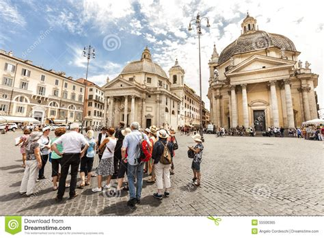 Tourists Group With Tour Guide In Rome, Italy Piazza Del