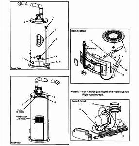 Kenmore 153331360 Gas Water Heater Parts