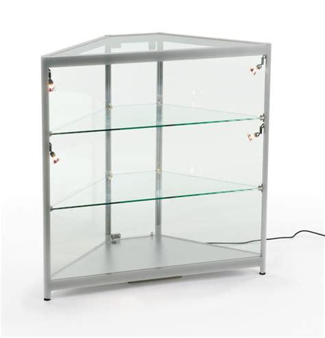 glass sidelit corner display cabinet silver aluminum frame