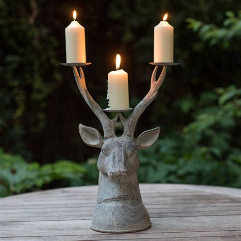 grand stag head candle holder   flower studio