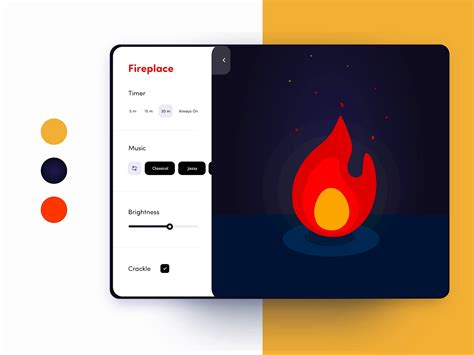 animated fireplace tablet app  adobe xd