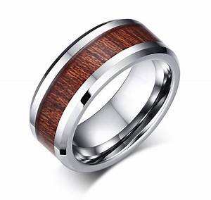 Men39s Tungsten Carbide And Wood Grain Wedding Band Ring