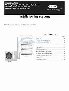 Carrier 38gxm Series Installation Instructions Manual Pdf