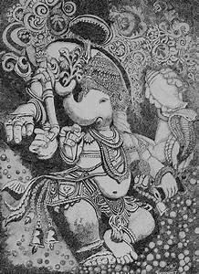 Dancing Ganesh Bw Painting by Sushobha Jenner