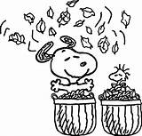 Coloring Fall Pages Snoopy Leaves Printable sketch template