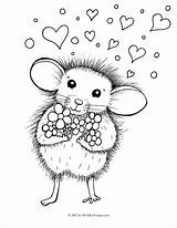 Coloring Mouse Pages Colouring Valentine Printable Getcolorings Dy Nights Five Inky Pets Valentines sketch template
