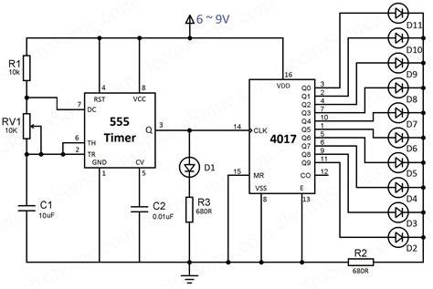battery powered led light led chaser 4017 counter and 555 timer