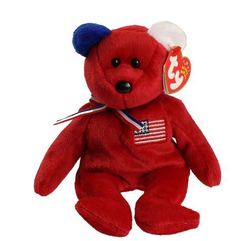 ty beanie baby america  bear red version internet