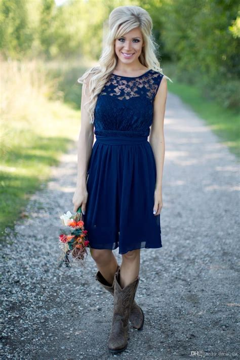 Country Style 2017 Newest Royal Blue Chiffon And Lace