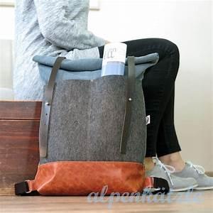 Retro Rucksack Selber Nähen : rucksack canvas rolltop filz leder von alpenk tzle auf handmade leather goods ~ Orissabook.com Haus und Dekorationen