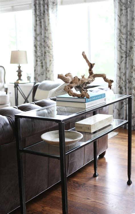how to decorate a sofa table behind a couch how to style a console table