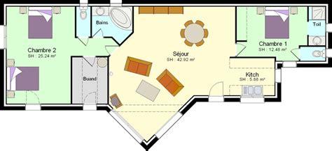 plan maison plain pied 2 chambres plan maison plain pied 2 chambres plans maisons
