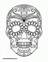 Coloring Skull Sugar Pages Simple Popular sketch template
