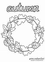 Wreath Coloring Autumn Pages Print Printables Thanksgiving Fall Wreaths Printable Adult Easy Sheets Activity Fun Books Flower Crafts Printcolorfun Holidays sketch template
