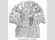 Baobab Tree African Tree Coloring Book Stock Vector