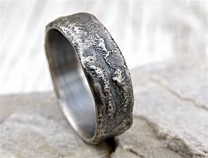 buy a hand made molten silver ring richly structured With alternative mens wedding rings