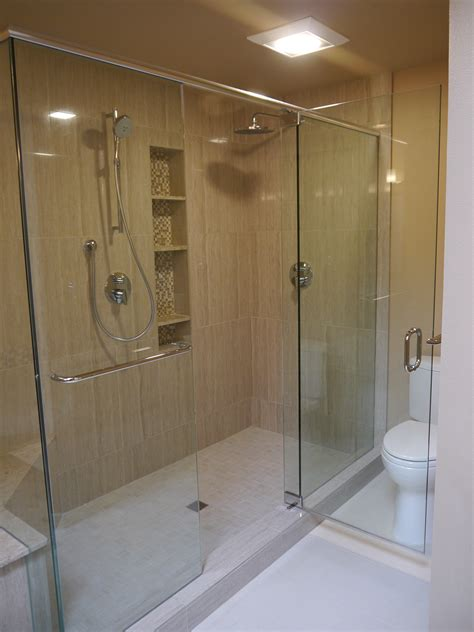 glass tile bathroom ideas shower tub niches