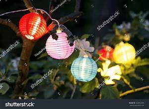 Colorful Lampions Lanterns Tree Night Garden Stock Photo ...
