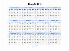 Kalender 2010 Jaarkalender en Maandkalender 2010 met