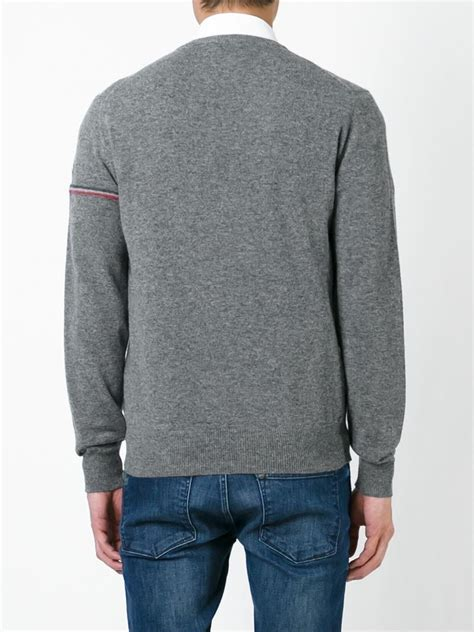 moncler sweater moncler striped sleeve sweater in gray for lyst