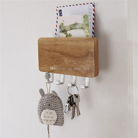 wood mounted key holder mail letter box rack wall