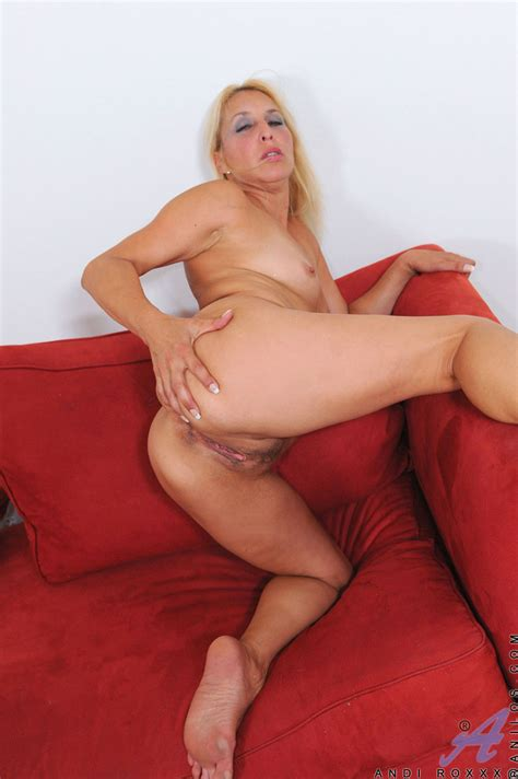 blonde cougar andi roxxx teases her milf pussy with her fingers clothing seduction