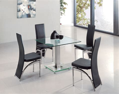 clear glass dining table and 4 chairs square ice clear glass dining table and 4 g501 chairs 8485