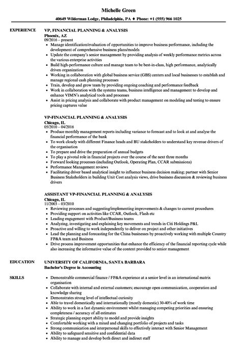 financial planning and analysis cover letter financial planning and analysis resume finance manager
