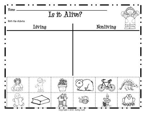 kindergarten living and non living worksheets donna