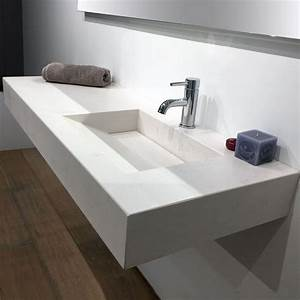 plan vasque salle de bain suspendu 121x46 cm excentre With salle de bain design avec plan sous vasque salle de bain