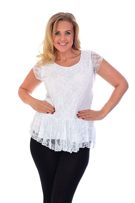 New Womens Plus Size Lace Top Ladies Lined Peplum Style ...
