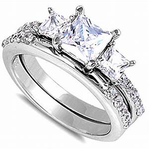 beautiful princess cut cz 2 ring bridal set 925 sterling With size 10 wedding ring sets