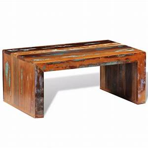 Antique style reclaimed wood coffee table vidaxlcouk for Reclaimed teak wood coffee table