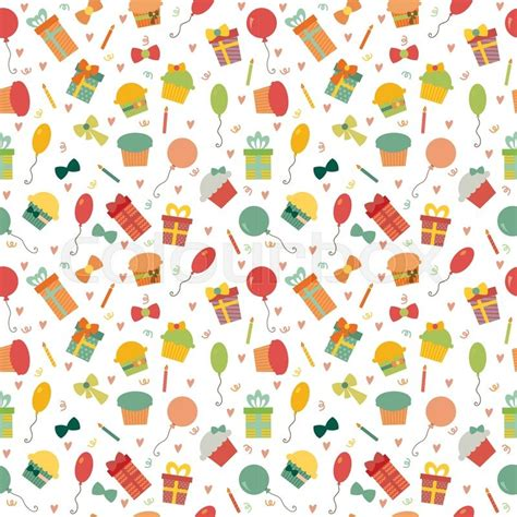 cute happy birthday seamless pattern stock vector