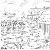 Coloring Country Farm Pages Outhouse Printable Living Animals Template sketch template