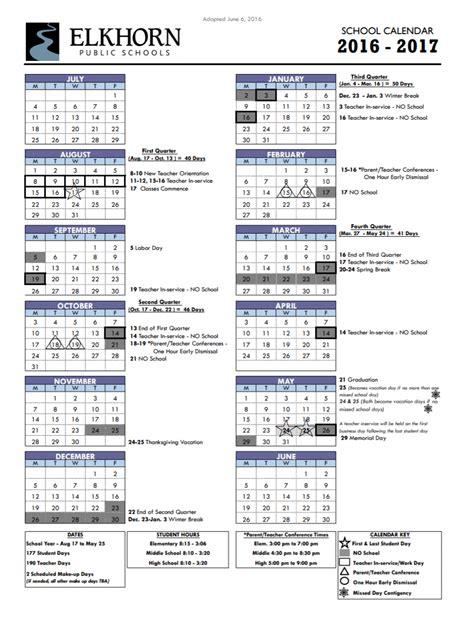 calendar elkhorn public schools