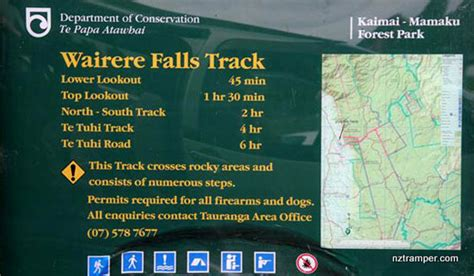 corner display wairere falls track to south track to te tuhi track