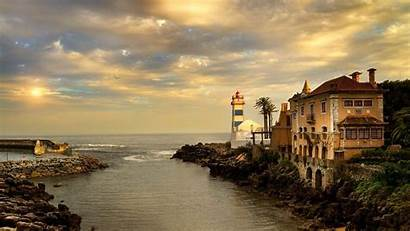 Lighthouse Widescreen Portugal Wallpapers Background Santa Ocean