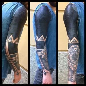 Cool Blackwork Tattoo Sleeve with Elbow Mandala  Best Tattoo Ideas Gallery