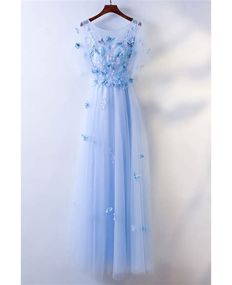 cute blue flowy long cheap prom dress  butterflies