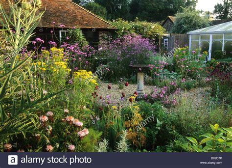 Cottage Garden With A Tulip Tree And Steps And Gravel