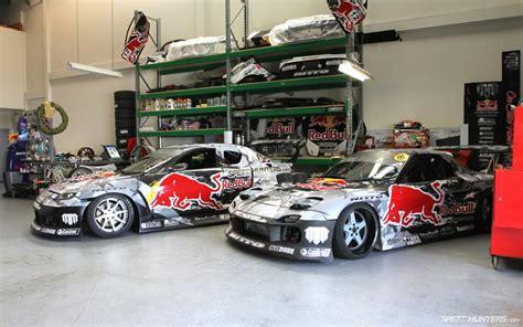 Mazda Rx-7 Rx-8 Red Bull Garage Race Car Hd Wallpaper